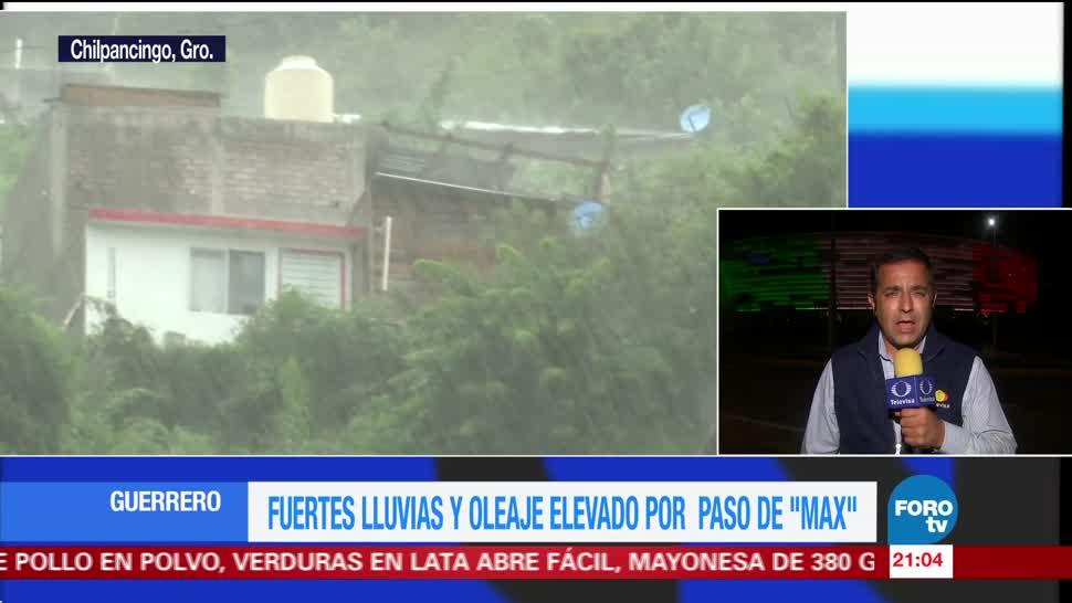 Fuertes lluvias y oleaje elevado por Max en Guerrero