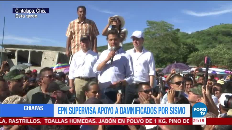 Peña Nieto supervisa apoyo a damnificados en Chiapas