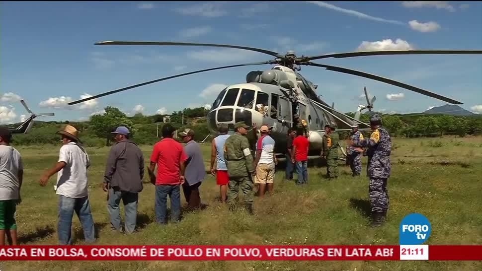Helicópteros trasladan ayuda humanitaria para damnificados por sismo
