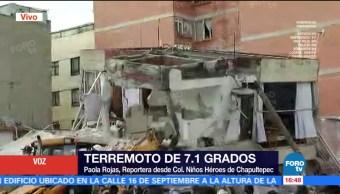 Trabajan con grúa para rescatar a atrapados en Niños Héroes de Chapultepec