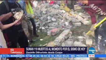 Autoridades trabajan para rescatar a niños atrapados por sismo colegio de Coapa