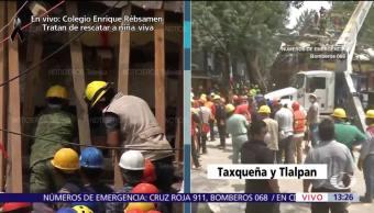 Retiran Manualmente Escombros Zona Derrumbe Tlalpan, CDMX