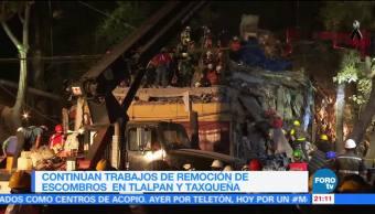 Brigadistas luchan para sacar a persona con vida de multifamiliar de Tlalpan
