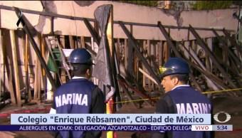 Derrumbe pone en riesgo de colapso edificio de colegio Rébsamen