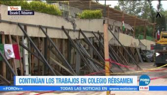 Siguen apuntalando escombros el colegio Enrique Rebsamen
