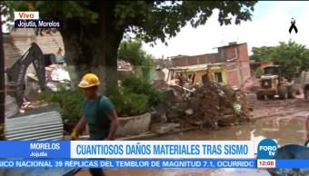 Retiran escombros de la iglesia de la Santa Cruz en Jojutla
