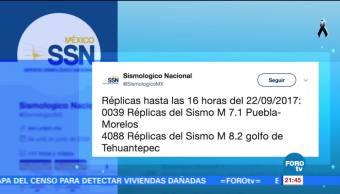 Van 39 réplicas del sismo de 7.1 grados