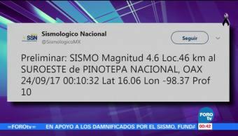 Se registra sismo de 4.6 grados con epicentro en Pinotepa Nacional