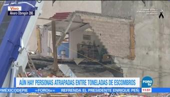 Se mantienen cortes viales en la zona de derrumbe de Álvaro Obregón