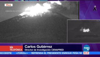 Volcán Popocatépetl registra intensa actividad incandescente