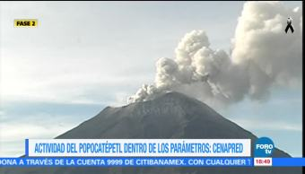 Dentro de los parámetros normales, actividad del Popocatépetl: Cenapred