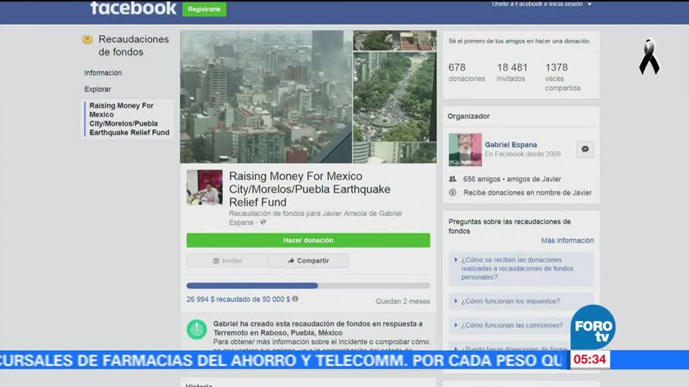 Crean en EU perfil en Facebook para ayudar a víctimas del sismo