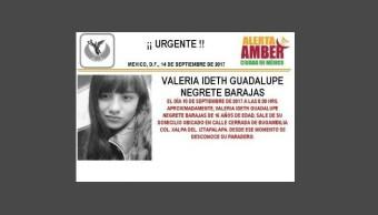 Activan Alerta Ámber para localizar a Valeria Ideth