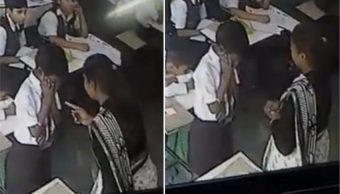 Maestra, Golpea, Alumno, Niño, Video, Abofeteado