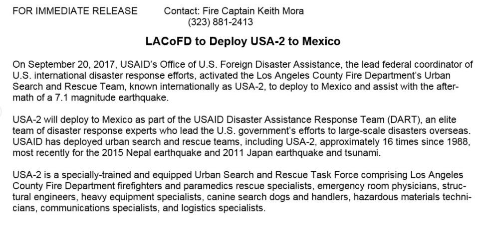 Los Ángeles enviará rescatistas a México tras sismo