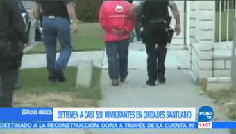 Detienen Casi 500 Inmigrantes Ciudades Santuario Estados Unidos