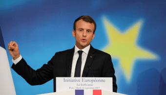 El presidente francés, Emmanuel Macron, durante conferencia
