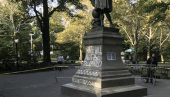 Estatua de Cristóbal Colón vandalizada en Central Park de Nueva York