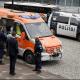 Vehiculo de la policia y ambulancia frente a Parlamento Finlandia