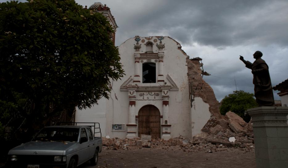 Iglesia de San Vicente en Juchitán, Oaxaca, afectada tras sismo