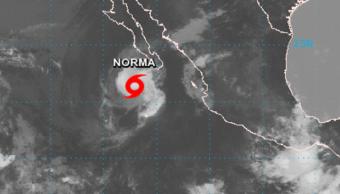 Imagen satelital de la tormenta tropical Norma frente a BCS