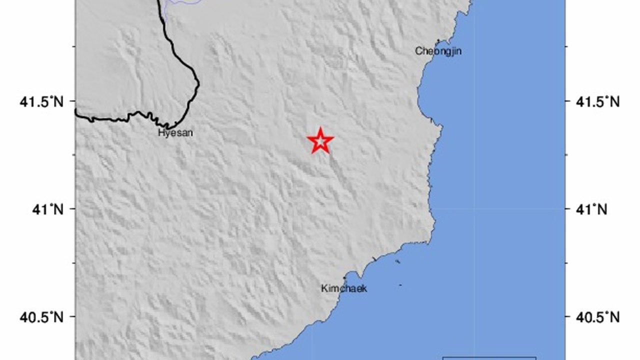 Gráfico del USGS con la ubicación del sismo en Corea del Norte