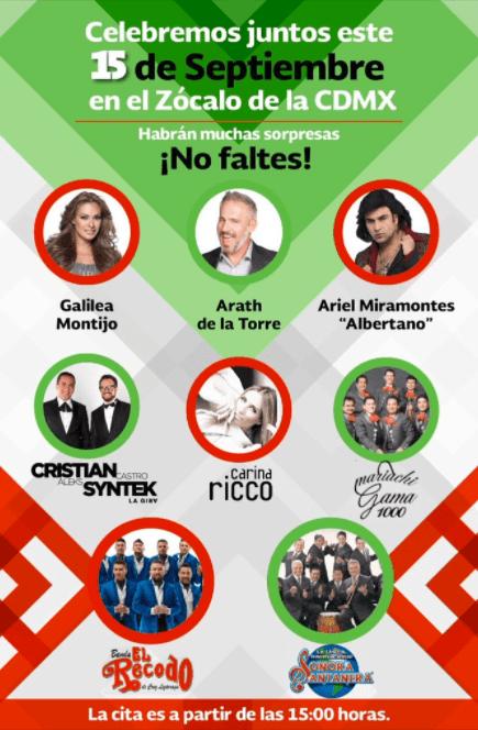 Presentaciones en el Zócalo para el 16 de septiembre de 2017.
