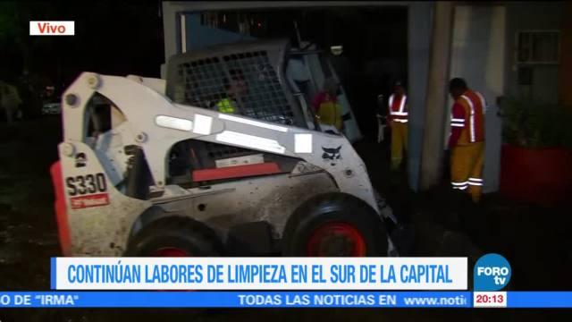 Siguen los trabajos tras inundación en el sur de la CDMX