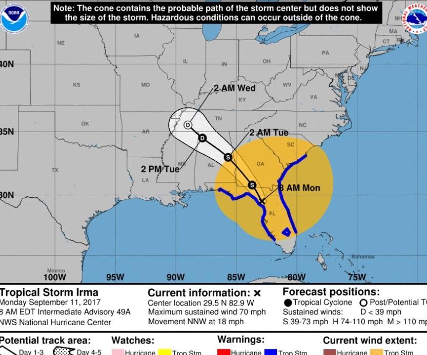 Informan de 12 fallecidos en Florida tras paso de huracán Irma