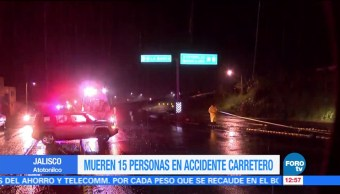 Mueren 15 personas en accidente carretero en Jalisco