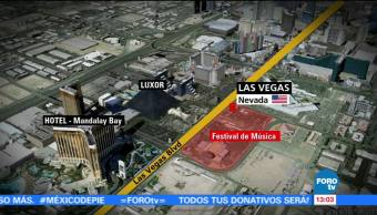Mapa Las Vegas Muestra Lugar Tiroteo Hotel Mandalay Bay