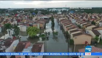 Semar apoya desalojo en zonas inundadas de Tampico, Tamaulipas