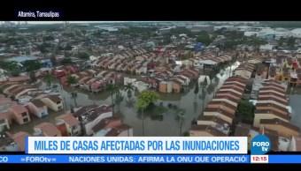 Miles de casas resultan afectadas por inundaciones en Tamaulipas
