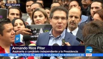 Ríos Piter se registró como aspirante a candidato presidencial independiente