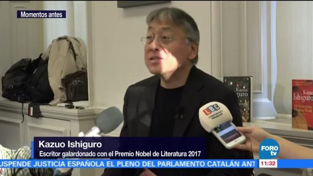 Kazuo Ishiguro recibe noticia de ser Premio Nobel de Literatura 2017