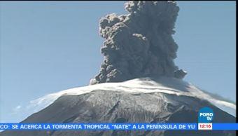 Volcán Popocatépetl lanza fumarola de 1.5 kilómetros