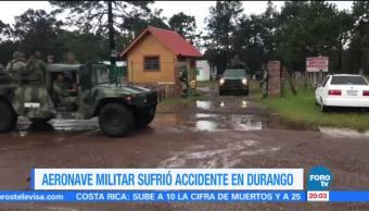 Aeronave militar sufre accidente en Durango