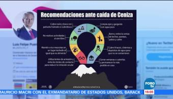 Recomendaciones ante caída de ceniza del Popocatépetl