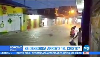 Se desborda arroyo 'El Cristo' en Pichucalco, Chiapas