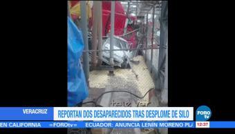 Desplome de silo con granos deja dos desaparecidos en Veracruz