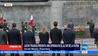 Trudeau presenta ofrenda floral en el Altar a la Patria