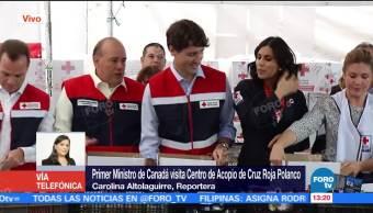 Justin Trudeau visita el centro de acopio de la Cruz Roja