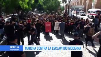 Realizan marchan en Michoacán contra la esclavitud