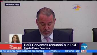 Raúl Cervantes anuncia su 'renuncia irrevocable' a PGR ante la Jucopo