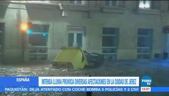 Intensas lluvias provocan diversas afectaciones en la ciudad de Jerez, España
