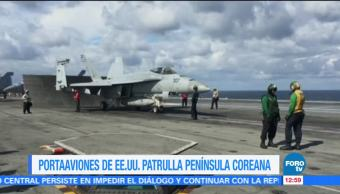 Portaaviones de guerra más grande de EU patrulla la Península Coreana