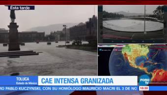 Cae intensa granizada en el centro de Toluca Toluca