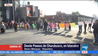 Bloquean Paseos de Churubusco en Iztacalco