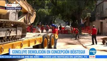 Queda vacío predio del edificio afectado tras sismo en Concepción Béistegui