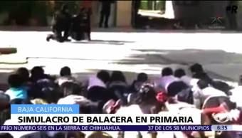 Hacen simulacro de balacera en una primaria de Baja California